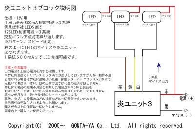 画像1: LED炎(ほのお)ユニット3ブロック